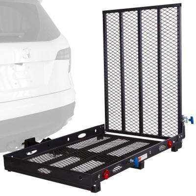 500 lbs. Capacity Hitch-Mounted Folding Steel Wheelchair or Scooter Carrier with 42 in. L Ramp