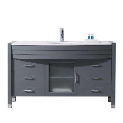 Ava 55 in. W Bath Vanity in Gray with Stone Vanity Top in White Stone with Round Basin and Faucet