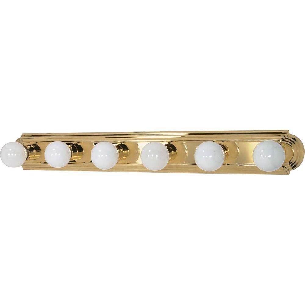 Elektra 6-Light Polished Brass Racetrack Style Bath Vanity Light