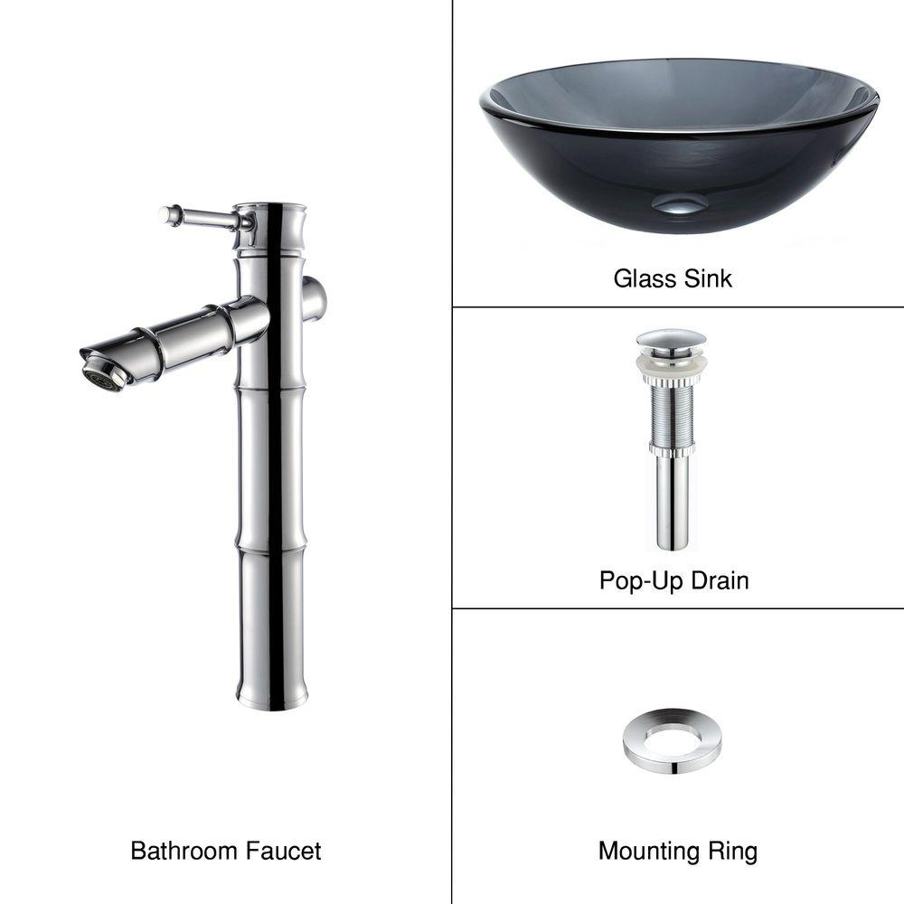 KRAUS Glass Bathroom Sink in Clear Black with Single Hole 1-Handle Low Arc Bamboo Faucet in Chrome-DISCONTINUED