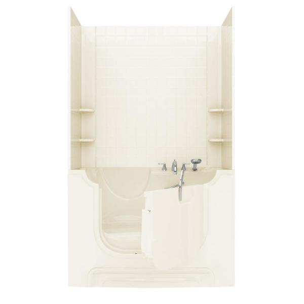 Rampart Wheelchair Accessible 5 ft. Walk-in Whirlpool Bathtub with 4 in. Tile Easy Up Adhesive Wall Surround in Biscuit