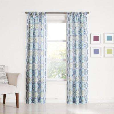 Sheer Lapis No. 918 Millennial Delia Lapis Heathered Print Curtain Panel, 40 in. W x 84 in. L