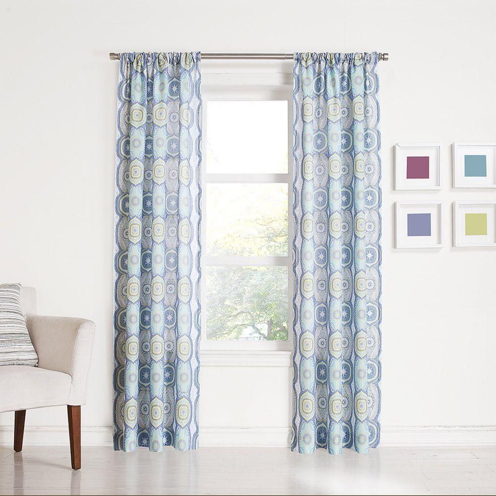 No. 918 Millennial Delia Lapis Heathered Print Curtain Panel