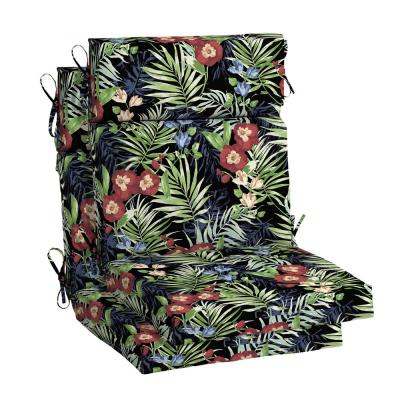 21.5 in. x 24 in. Black Tropical High Back Outdoor Chair Cushion (2-Pack)