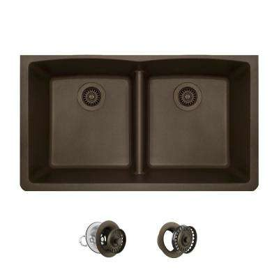 All-in-One Undermount Kitchen Sink Composite Granite 33 in. Low-Divide Equal Double Basin in Mocha