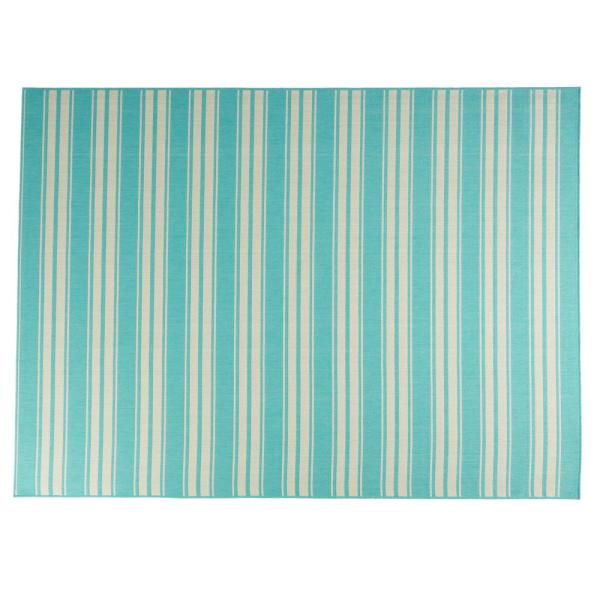 Noble House Ifran Teal And Ivory 5 Ft X 7 Ft Striped Outdoor Area Rug 81868 The Home Depot