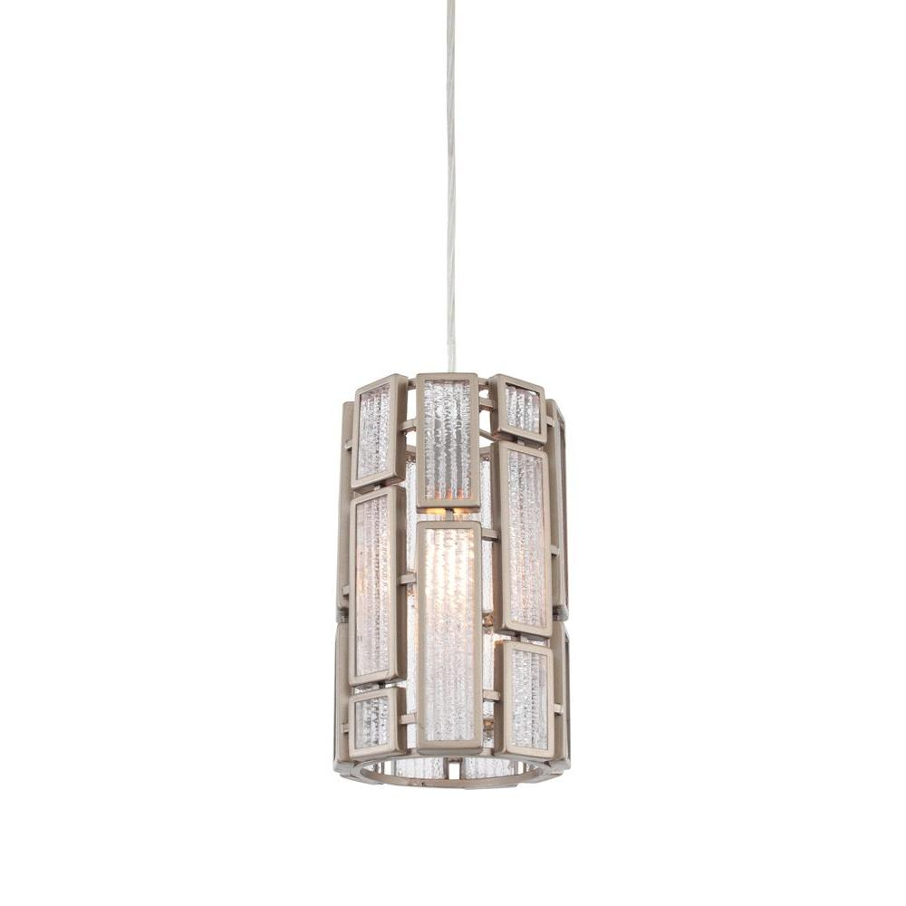 Varaluz Harlowe 1 Light New Bronze Mini Pendant With Textured Ice Gl