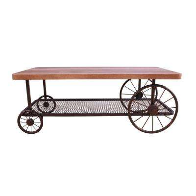 Francie Oak and Antique Gray Mobile Coffee Table
