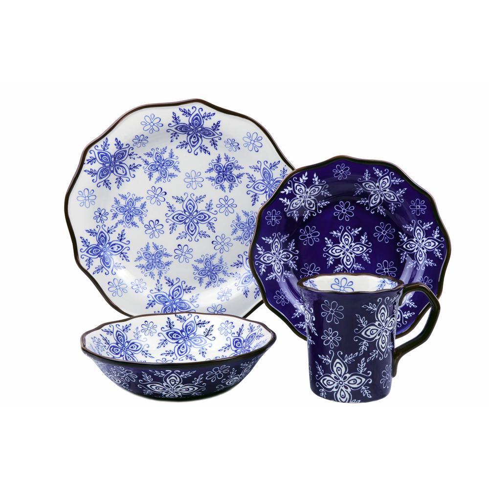 Samana Collection 16-Piece Euro Blue Wavy Edge Stoneware Set