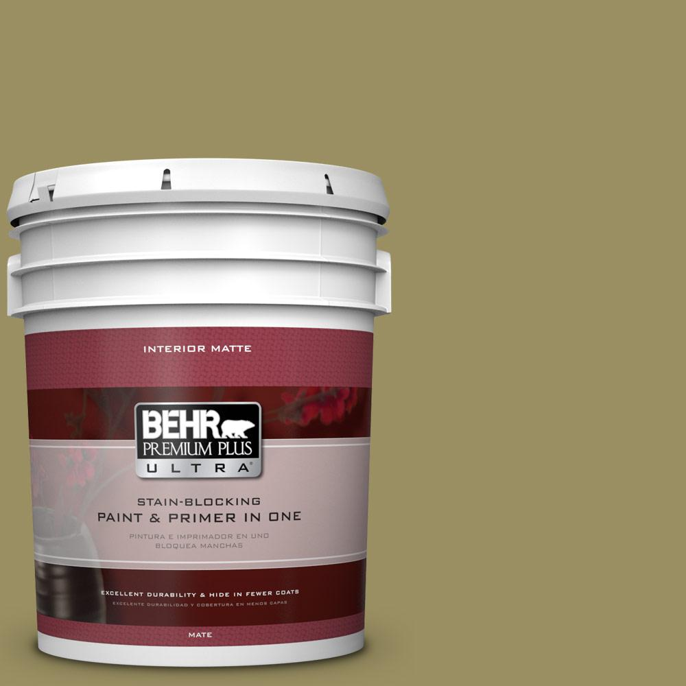5 gal. #390F-6 Tate Olive Matte Interior Paint and Primer in