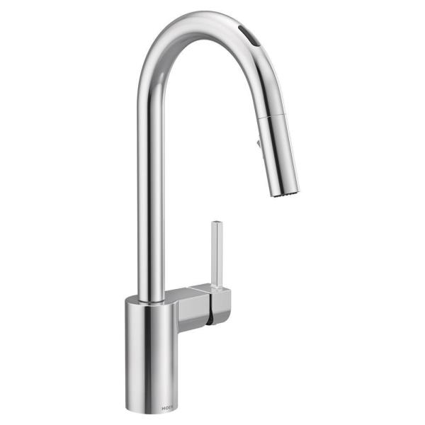 U by Moen Align Single-Handle Pull-Down Sprayer Smart Kitchen Faucet with Voice Control and Power Clean in Chrome