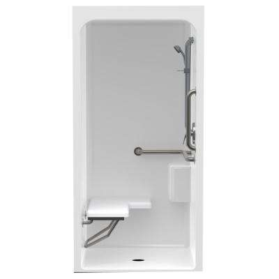 Accessible Acrylic 36 in. x 36 in. x 80.4 in. 1-Piece ANSI Shower Stall with Left Seat and Grab Bar in White