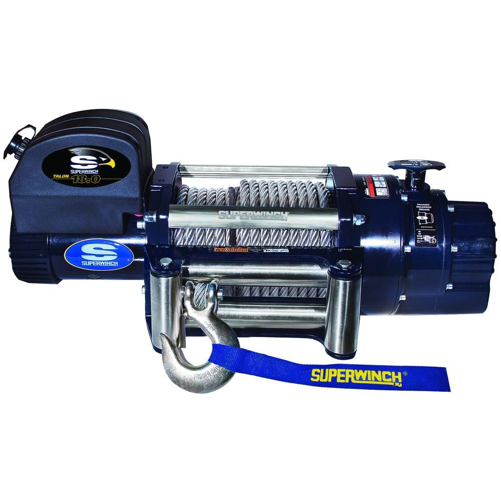 Superwinch Talon 18.0 12-Volt DC Industrial Winch with 4-Way Roller Fairlead and 15 ft. Remote