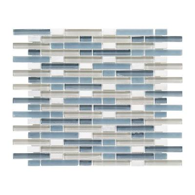 Cyclove Blue 10.875 in. x 13.25 in. x 8 mm Interlocking Glass/Stone Mosaic Tile
