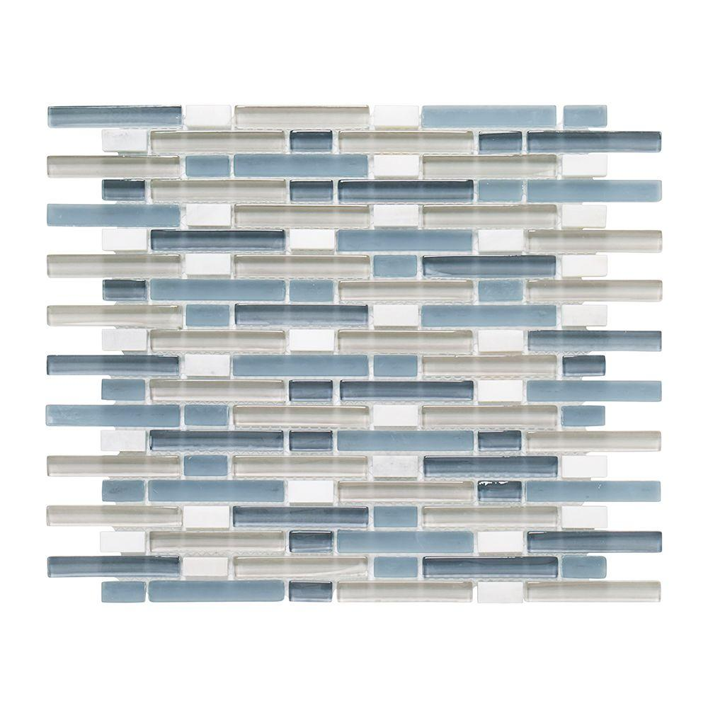Jeffrey Court Cyclove 10.875 in. x 13.25 in. x 8 mm Glass/Stone ...