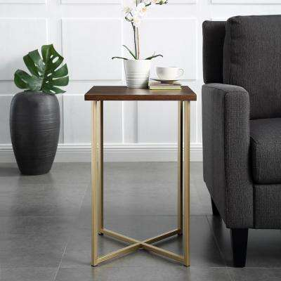 16 in. Dark Walnut Top Gold Legs Square Side Table