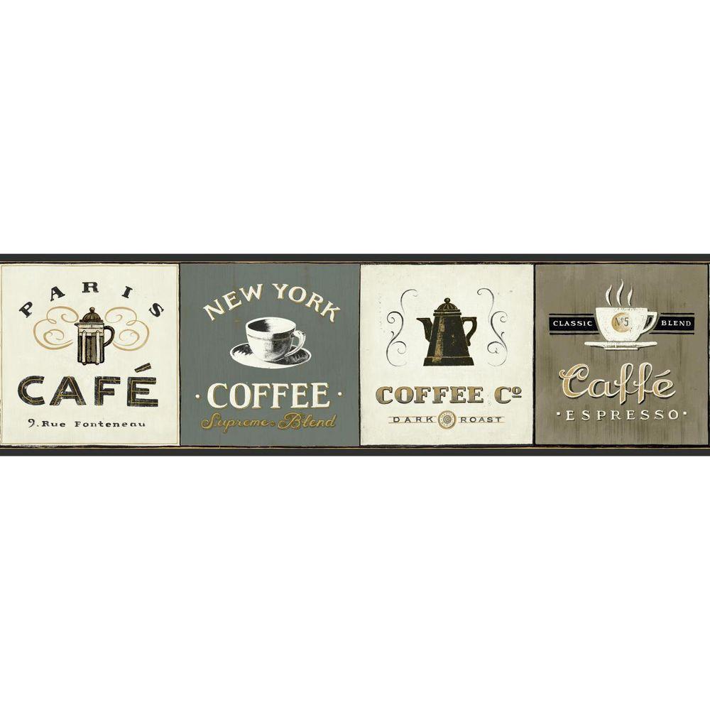 York Wallcoverings American Classics Coffee Signs Wallpaper Border