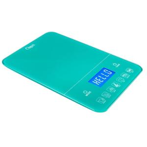 Ozeri Touch III 22 lbs. (10 kg) Digital Kitchen Scale with Calorie Counter, in Teal Tempered Glass by Ozeri