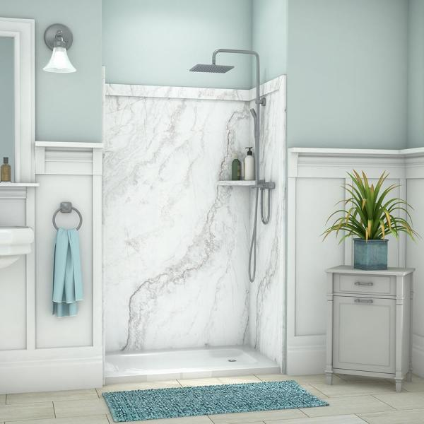 Elegance 36 in. x 48 in. x 80 in. 9-Piece Easy Up Adhesive Alcove Shower Wall Surround in Calypso