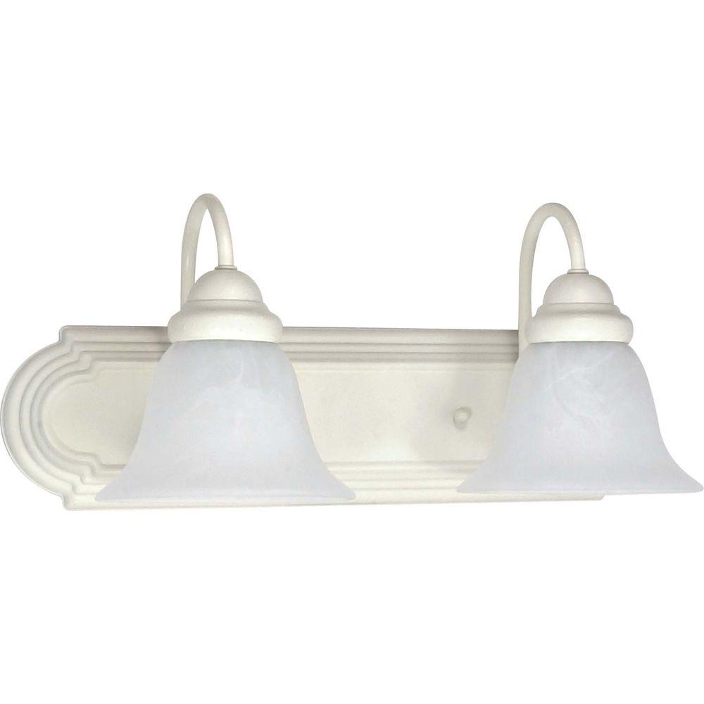 Glomar 2-Light Textured White Vanity Light with Alabaster Glass Bell Shades-HD-332 - The Home Depot