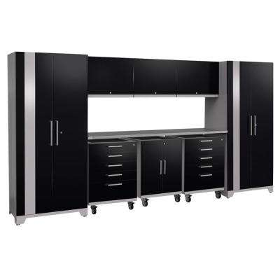 Performance Plus 2.0 80 in. H x 161 in. W x 24 in. D Steel Garage Cabinet Set in Black (9-Piece)