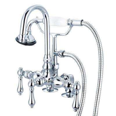 3-Handle Vintage Claw Foot Tub Faucet with Handshower and Lever Handles in Triple Plated Chrome