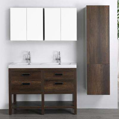 47.2 in. W x 32.4 in. H Bath Vanity in Brown with Resin Vanity Top in White with White Basin and Mirror