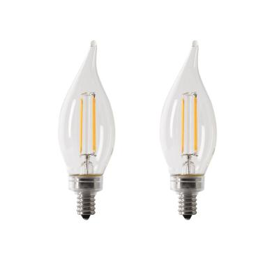 40-Watt Equivalent CA10 Candelabra Dimmable Filament CEC Clear Glass Chandelier LED Light Bulb, Daylight (2-Pack)