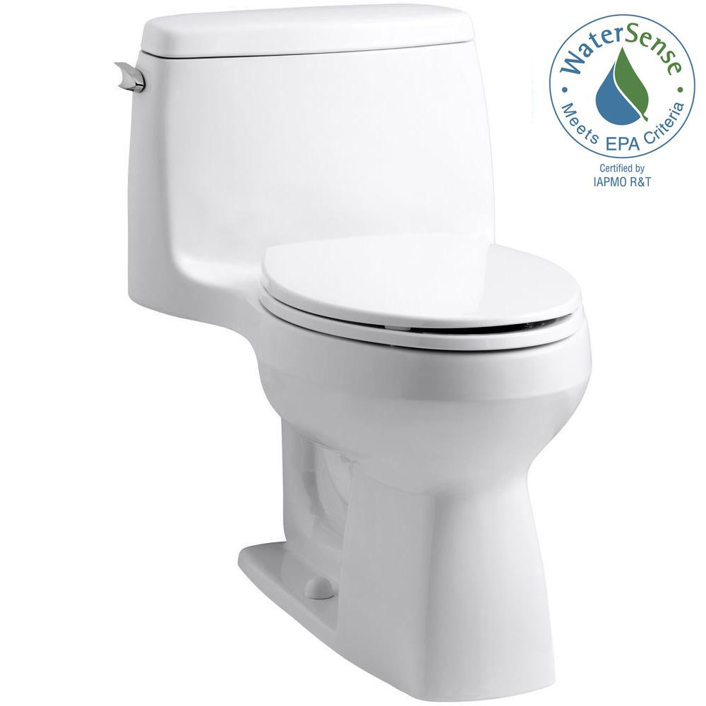 Kohler Santa Rosa >> KOHLER Santa Rosa Comfort Height 1-piece 1.28 GPF Compact Single Flush Elongated Toilet in White ...