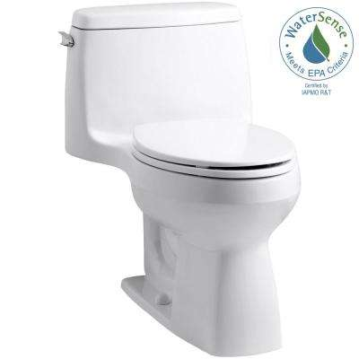 Santa Rosa Comfort Height 1-Piece 1.28 GPF Compact Single Flush Elongated Toilet in White, Seat Included (3-Pack)