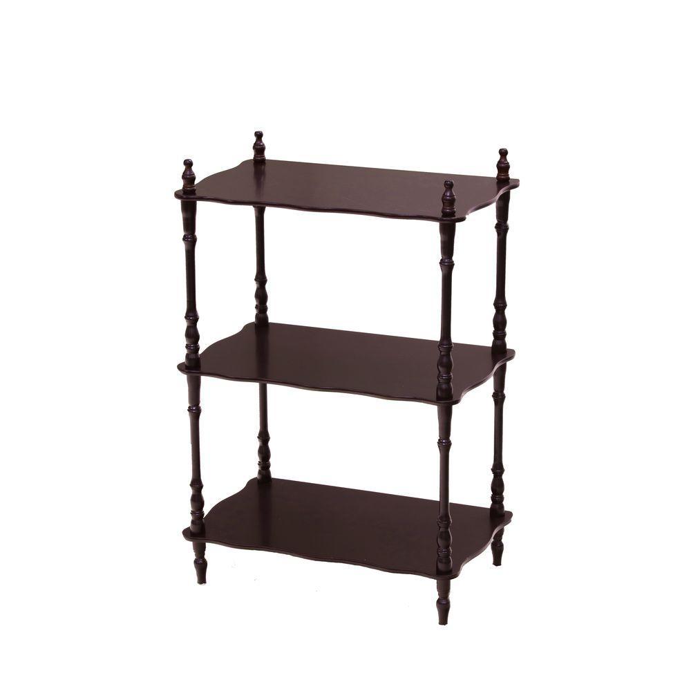 Homecraft Furniture 3-Tier 6 in. W x 23 in. H x 14 in. D Wood Rectangular Shape Shelf, Dark Brown Wood