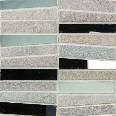 Reflection Trapezoid White Quartz and Mirror Mosaic Tile - 3 in. x 6 in. Sample
