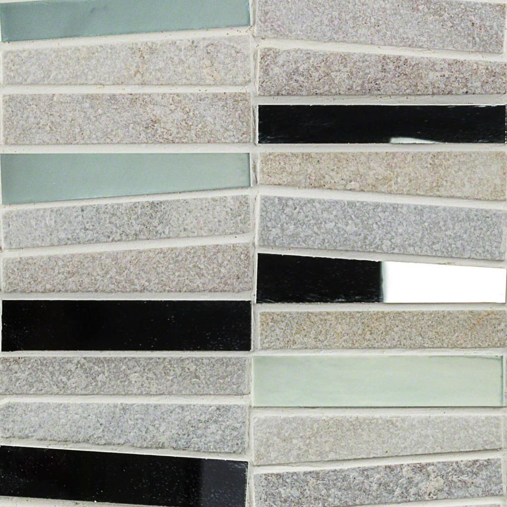 Splashback Tile Reflection Trapezoid White Quartz And Mirror Mosaic