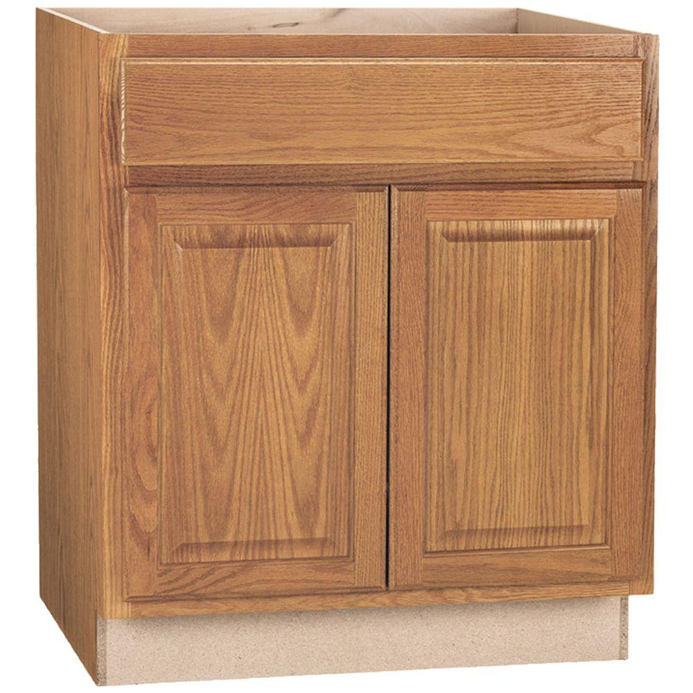 Oak Cabinet Kitchen Ideas Top Medium Oak Kitchen Cabinets: Hampton Bay Hampton Assembled 30x34.5x24 In. Base Kitchen