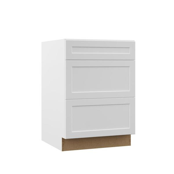 Hampton Bay Designer Series Melvern Assembled 24x34 5x23 75 In Drawer Base Kitchen Cabinet In White B3d24 Mlwh The Home Depot