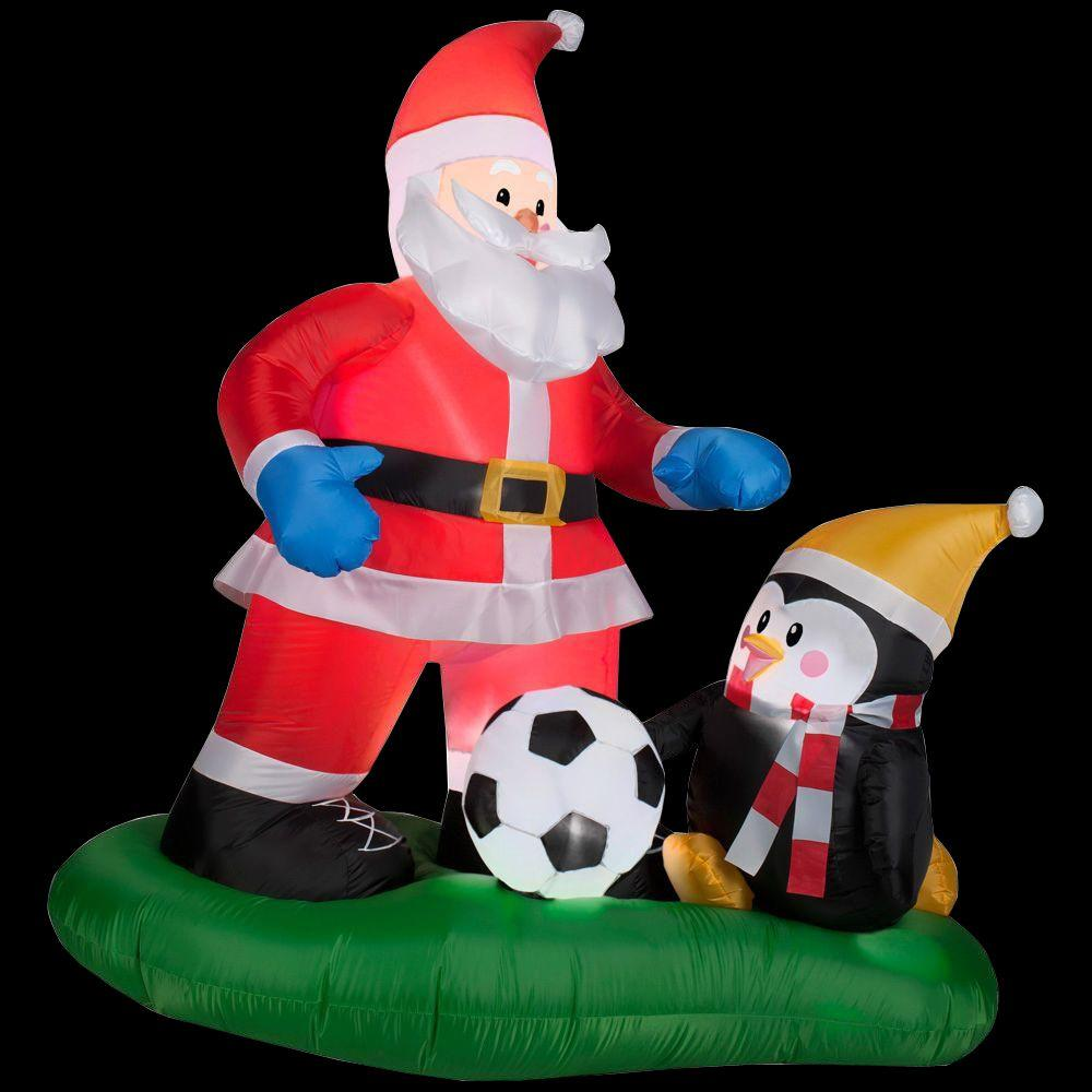 Home Accents Holiday 5 Ft Inflatable Santa Soccer Scene