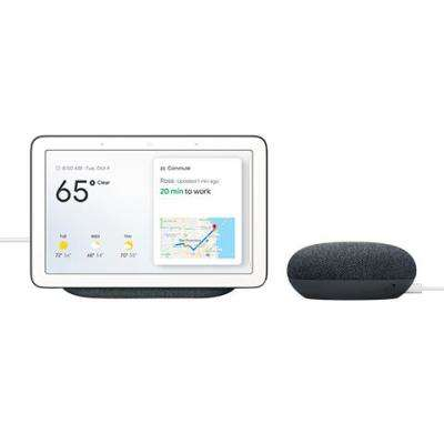 Nest Hub in Charcoal with Google Home Mini in Charcoal