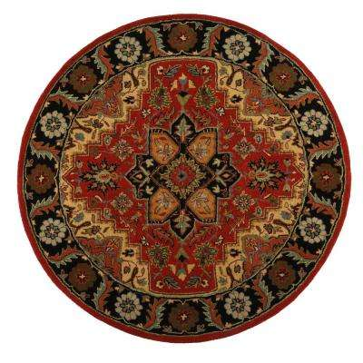 Normandie Rust 5 ft. x 5 ft. Round Area Rug