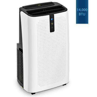 14,000 BTU Portable Air Conditioner with Dehumidifier with Remote in White and Titanium Gray