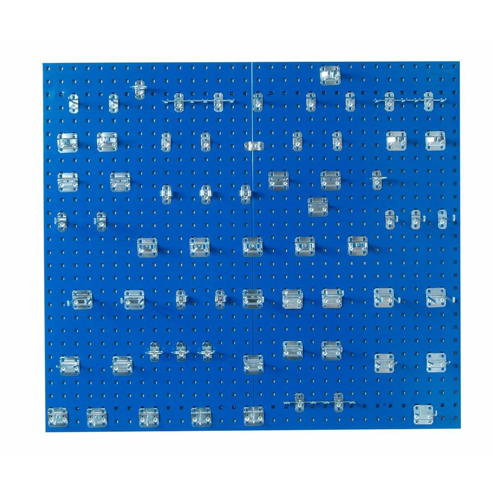 3/8 in. (2) Blue Epoxy 18-Gauge Steel Square Hole Pegboards with
