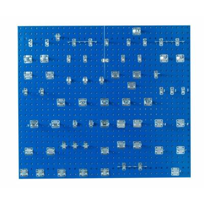 3/8 in. (2) Blue Epoxy 18-Gauge Steel Square Hole Pegboards with Kit (63-Piece)