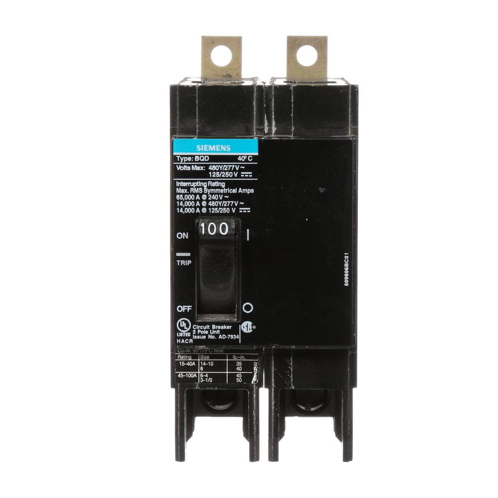 Siemens 100 Amp Double Pole Type Qp Circuit Breaker Q2100p The Diagram In Addition Wiring Of A 2 Gfci Bqd Bolt On