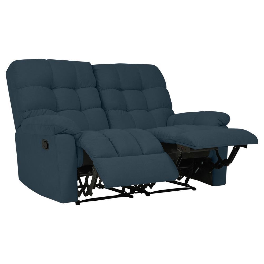 2-Seat Tufted Recliner Loveseat in Caribbean Blue Plush Low-Pile Velvet