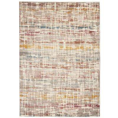 Entice Abstract Textured Ivory/Multi-Color 5 ft. 3 in. x 7 ft. 3 in. Area Rug