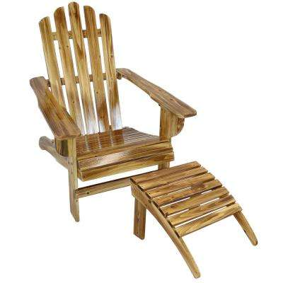 Enjoyable Rustic Wooden Outdoor Adirondack Chair And Ottoman Patio Furniture Set In Light Charred Unemploymentrelief Wooden Chair Designs For Living Room Unemploymentrelieforg