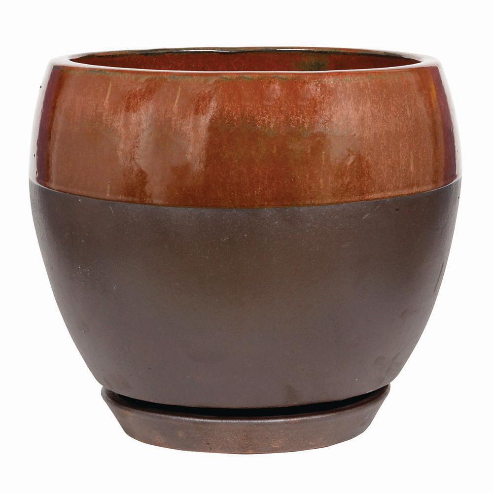 Kendall Egg 12 in. Dia  Copper Ceramic Planter