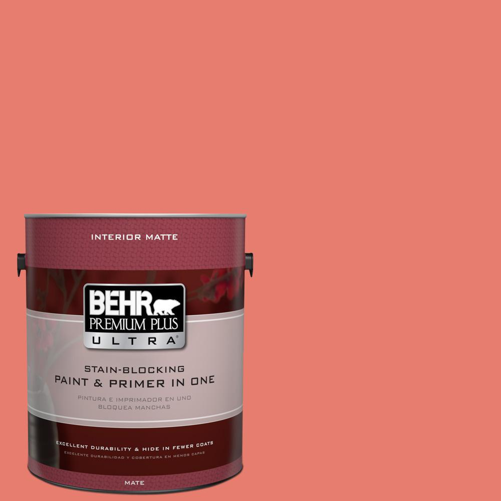 BEHR Premium Plus Ultra 1 gal. #HDC-SM14-12 Cosmic Coral Matte Interior Paint and Primer in One