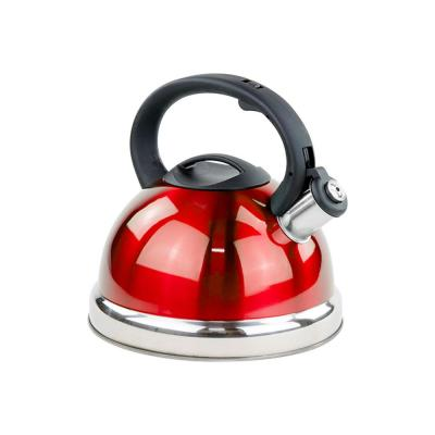 11-Cup Stainless Steel Whistling Tea Kettle 2.8 l Encapsulated Tea Maker Pot Red