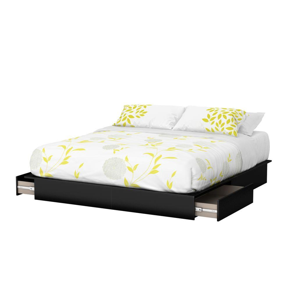 c5837f4d9ae2 South Shore Step One 2-Drawer King-Size Platform Bed in Pure Black ...