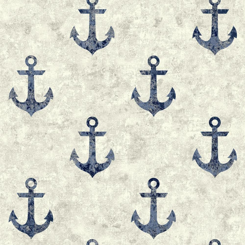 York Wallcoverings Nautical Living Anchor Away Wallpaper ...